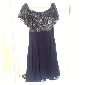 TALL navy and silver lace midi formal dress